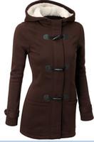 big horn coat - 2017 Women s hoodies warm new winter thickening big yards horn hooded fleece jacket dress coat W245