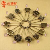 Wholesale DIY alloy jewelry accessories Zakka bronze VINTAGE BROOCH new lapel pin special material flower mushroom heart angel love charm