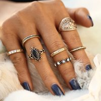 Wholesale 2017 Vintage Boho Ring Set Tibetan Turkish Turquoise Anillos Midi Rings Sets for Women Fashion Mix Steampunk Anel Aneis Jewelry