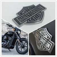 Wholesale Sticker Gas Tank Motorcycle - 10pcs Metal 107*77mm For Harley Davidson Softail Sportster Motorcycle Gas Fuel Tank Emblem Medallion For Ford F150 Badge Logo Sticker