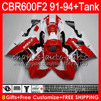 Comression Mold For Honda CBR600 F2 gloss red 8 Gifts 23 Colors For HONDA CBR600F2 91 92 93 94 CBR600RR FS 1HM7 CBR 600F2 600 F2 CBR600 F2 1991 1992 1993 red white 1994 Fairing