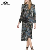Autumn bloom photos - autumn winter retro vintage new floral flower bloom print long sleeve long women dress real photo