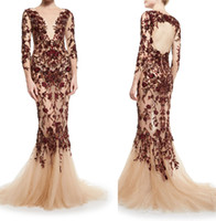 art deco floral - burgundy floral embroidered beaded sleeve mermaid formal evening dresses illusion v neckline open back evening gowns
