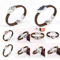 Wholesale Fashion punk retro bracelet Cartoon games imitation grass bracelet leather Braided bracelets Alloy stainless steel bracelet