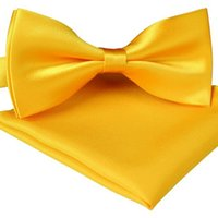 Wholesale New Hot selling Color Solid Pre Tied Silk Feel Satin Tuxedo Bow Ties and Pocket Square Set For Mens Various Colors T156265