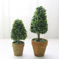 artificial potted christmas trees - Hot sale Vintage Design Artificial Tree Potted Plant Home Decoration Creative Small Bonsai Simulation Flower Suit Crafts Xmas New Year Gift