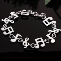 al por mayor pulseras nota de la música-Pulsera de cadena de la nota de la música de la venta al por mayor-Mujeres de la joyería clásica del brazalete de la voga de la pulsera de la cadena de la música
