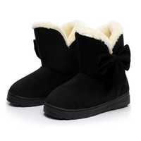 Wholesale 2016 Winter Snow Boots Bowtie Women Boot Flock Warm Inside Platform Flat Ankle Boots Casual Flats Shoes Woman X02