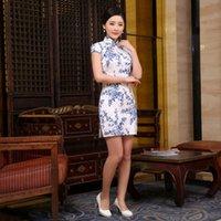 Wholesale New chinese traditional flower dress fashion wedding sexy short cheongsam evening print dresses qipao color