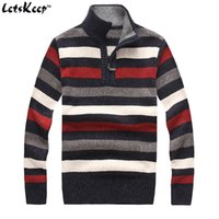Men acrylic computer stand - LetsKeep mens Striped pullover sweater winter thick computer knitted sweater men casual stand collar wool sweaters MA269