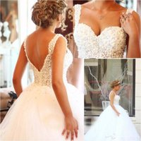 Wholesale New Arrival Saudi Arabia Wedding Dresses Ball Gown Spaghetti Sweetheart Backless Pearls Beaded Bridal Gowns
