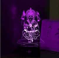 Wholesale 7 Colors USB d Nightlight for India Lord Ganesha LED RGB Touch Table Lamp Holiday Atmosphere Night Lights Lampara Touch Night