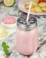 Wholesale 480ml Mason Jar Mini Glass Bottles for Salad Juice Simple Straw Coffee Fruit Hot Drink Installed Cup Milk Mason Jar