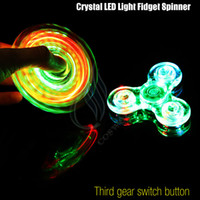 Wholesale New Crystal LED Light Fidget Spinner Toy Triangle Hand Spinners ABS Switch Button EDC Finger Tip decompression Novelty Rollver Cube Toys DHL