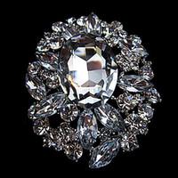 al por mayor invitaciones de cristal-Venta al por mayor 2,8 pulgadas de estilo de la vendimia de vidrio de cristal de gran diamante de piedra de la boda y la invitación nupcial Broche Pins