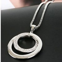South American american express free - FedEx Express Swarovski Crystal Rhinestone Circle Pendant Long Chain Sweater Necklace For Lady MON girlfrend gift