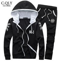 Wholesale Autumn Men Tracksuit Set Outwear Hooded Track Suit Joggers Basketaball Sweatshirts Active Sweatsuit Coat moletons White Black