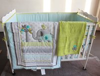 Wholesale 8 Pieces Cater Crib Baby Bedding Blanket Set Embroidery Elephant Bird Baby Nursery Crib Bumper Quilt Fitted Sheet Dust Ruffle