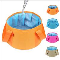 Wholesale Folding birdbath fishing bucket portable can be hot water lavatory washing footbath bucket outdoor camping supplies