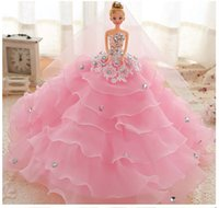 big beautiful dolls - 2016 New Dreamlike Doll Pink Beautiful Ball Gown Wedding Dress Barbie xcm Height For Girls s Gift
