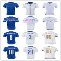 Soccer Men Short 2017 New Italy Soccer jersey ZAZA INSIGNE EL SHAARAWY PIRLO MARCHISIO De Rossi Bonucci Verratti Chiellini Italia Blue White Football shirt