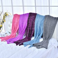 Wholesale knitted Mermaid Tail blanket adult crochet mermaid blanket throw bed Wrap soft sleeping bag cm cm