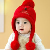 Wholesale Cartoon Baby Hats red Hat For Boy Girls Autumn Winter Infant Skullies Warm Baby girl Accessories
