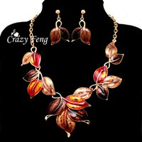 Wholesale Women s k Yellow Gold Plated Enamel Leaves Colors Jewelry Sets Chain Pendant Necklace Earrings sets