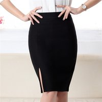Polyester None Knee-Length Fashion spring autumn new women skirt plus size high waist work slim pencil skirt open fork sexy office lady skirts female