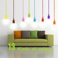 Wholesale Colourful E27 Silicone LED lamp Holder DIY Rainbow Pendant lights Droplight Vintage Edison Bulb For Decoration Art lighting