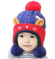 Wholesale 2016 Baby solid color wool Knitted caps Newborn autumn winter warm Cute Hats Kids Boys Girls candy colors for choose