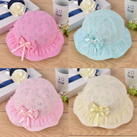 Wholesale 2017 Hot Sale Baby Sunhat Basin Cap Baby Fisherman Cap Topi Cotton Padded Cap With Bow And Hollow Flower For The Baby Princess