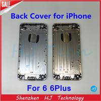 achat en gros de logos sim-Haut de la qualité de la couverture de la batterie arrière arrière Moyen cadre de la partie arrière en métal pour l'iPhone 6 6Plus Cover Case avec des boutons LOGO Bac SIM