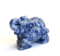 2,0 POUCES Blue Blue Dots Stone sculpté Crystal <b>Reiki Healing</b> Elephant Statue avec une pochette en velours