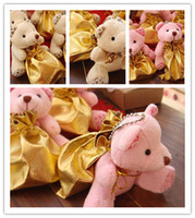 Wholesale Little Bear Style Favor Holders Candy Bags Vintage Printing Linen Pouches Wedding Supplies Party Candy Chocolate Present Gift Guess Bags