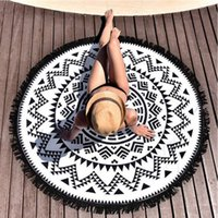 Wholesale Microfiber terry cloth western style round beach towels printing beach towel creative design beach towels with tassel