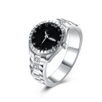 Wholesale New Classic Silver Plated Rhinestones Zircon CZ Diamond Engagement Watch Shape Rings Wedding Jewelry For Women