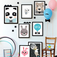 Digital printing baby nursery pictures - Canvas Animal Nursery Prints Cartoon Panda Bear Fox Wall Art Prints Posters Nordic Baby Kids Bedroom Decorative Painting Pictures Unframed