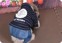 Одежды собаки Pet одежды VIP плюшевого собаки полоса Цю донг с толщиной ваты ковбой четыре фута