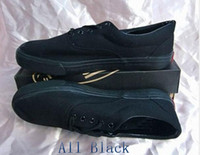 Wholesale 1pair Mens Womens Casual Canvas All Black Shoes Low Style Off The Wall Lace Up Classic Sneakers