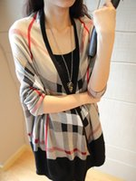 Wholesale Women Plaid Knit Cardigans Cotton Long Sleeve Sweater Knitted Casual Winter Sweaters