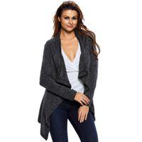 asymmetric shirt - New Autumn Woman T Shirt Long Sleeved Casual Slim Black Grey Apricot Asymmetric Wrapped Women Sweater