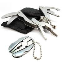 achat en gros de fonction trousseau-Folding Keychain Pocket Multi Function Tools Set Mini Pinces Knife Screwdriver Haute qualité DHL Livraison gratuite