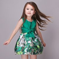 ball class - Baby Kids Clothing Girl s Dresses summer Spring Autumn high class Princess Printed vintage Ball Gown children party flower girl dress