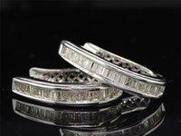Hoop & Huggie baguette diamond earrings - Baguette Diamond Hoop K White Gold Inch Earrings CT Huggies