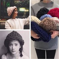 Wholesale thick manual knitting hat bold lines Warm colorful
