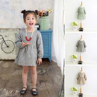 american wheat - Hug Me Girls Dress Kids Clothing Spring Print Wheat Dress Fashion Long Sleeve Cotton Princess Dress EC