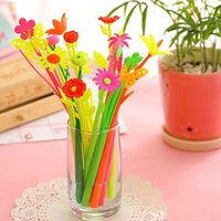 Wholesale 12 Pieces Flower Grass Gel Pens School Office Table Decorations Gel Pen Kid Children Prize Gifts Fashion Stationery Pen Material Escolar