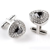 Wholesale Luxury Cufflinks For Mens And Women Zircon Black Purple White Crystal Fashion Brand Cuff Botton High Quality