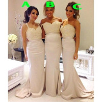 al por mayor bridesmaid dress in china-Vestidos de honor de la criada Vestidos de la dama de honor de las correas largas de la sirena de China Estilo occidental Vestidos Boda Invitados Mujer